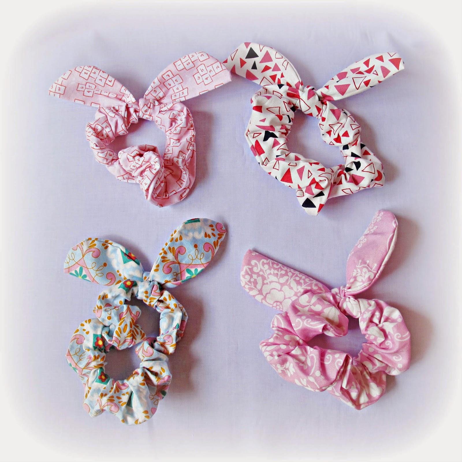 image woodland scrunchie hair bunny ears dena designs michael miller hopscotch tanya whelan sugar hill