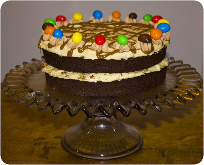 Cupcake Crazy Gem!: Chocolate & Peanut Butter M&M Birthday Layer Cake