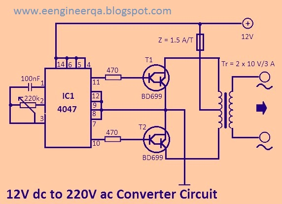 Dc To Ac Converter 12v To 220v Converter Circuit