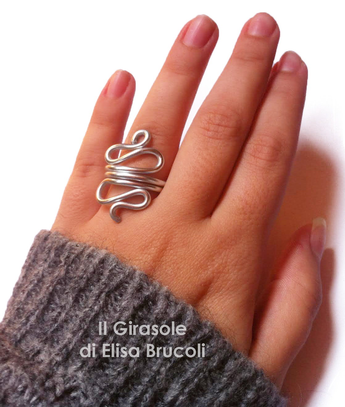 Super Anello in filo Wire di alluminio argentato con curve: Wire Shapes  EN56