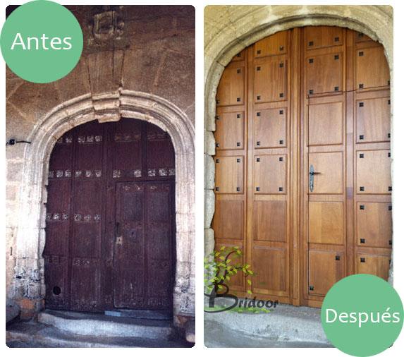 Bridoor s l puerta de madera para la iglesia de cabeza de for Puertas de cuarterones antiguas