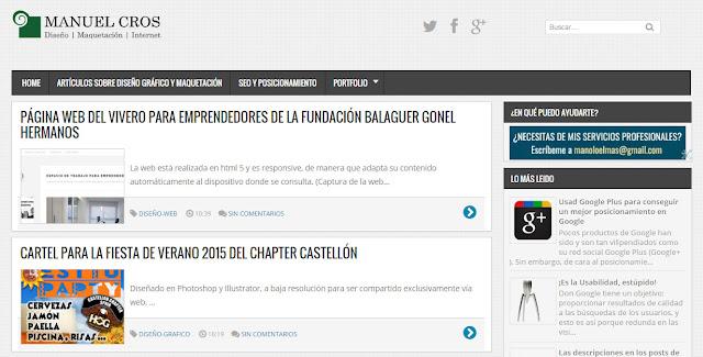 Captura de pantalla del blog del autor Manuel Cros