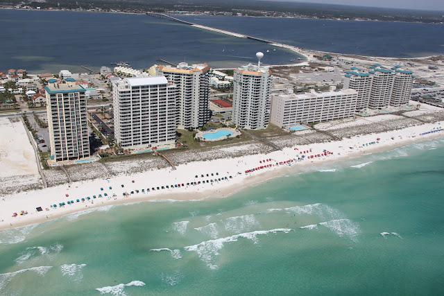Aerial view of Navarre Beach, FL along the Gulf of Mexico