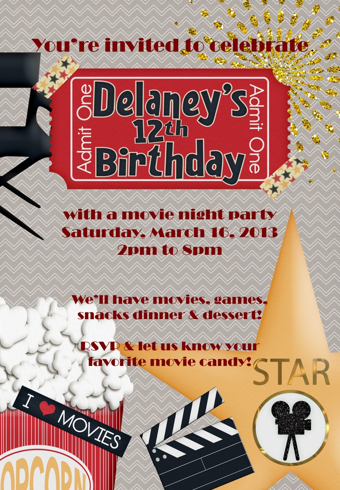 Movie Birthday Party Invitation as beautiful invitations design