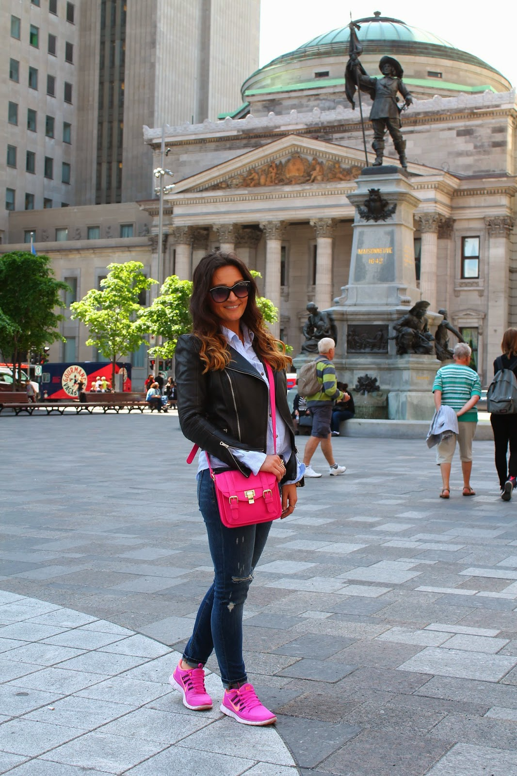 Sightseeing Montreal In Hot Pink Sneakers u0026 Ripped Jeans