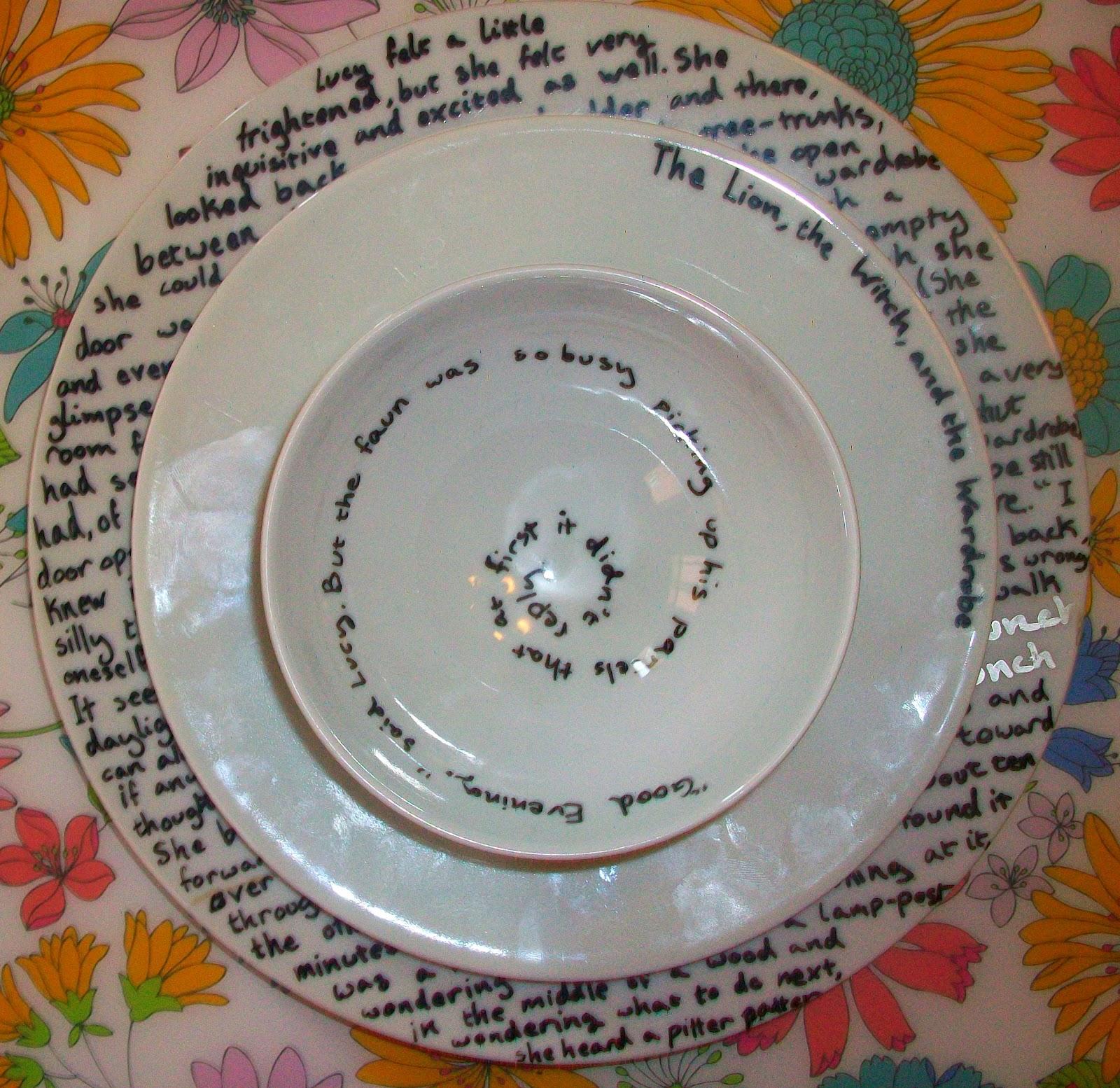 Tuesday July 10 2012 & Created 2B Creative: Literary Dinnerware