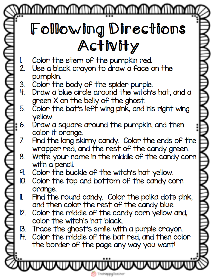 TheHappyTeacher Currently Sept Fall Printables – Following Directions Worksheet Trick