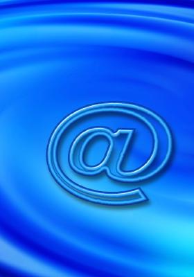symbole arobase sur fond bleu