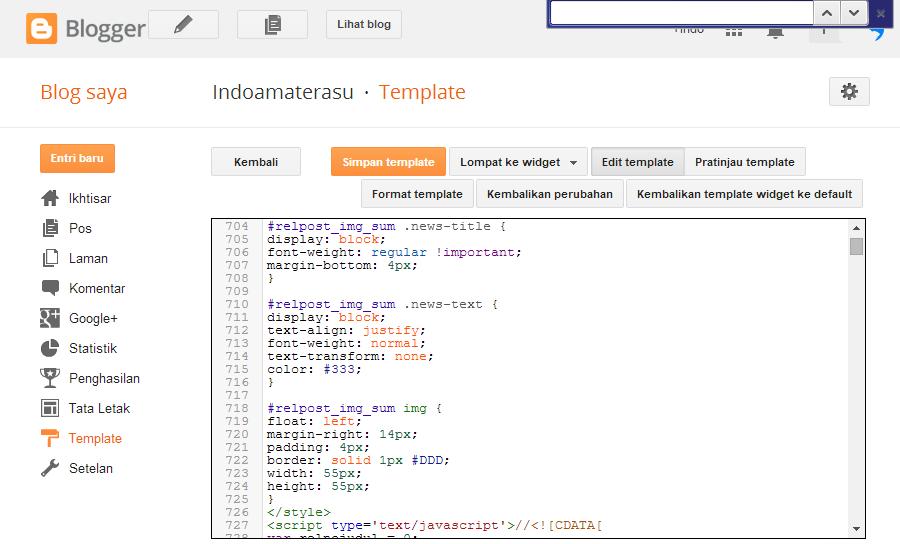 Cara Mencari Kode Pada Menu Edit HTML Blogger 1