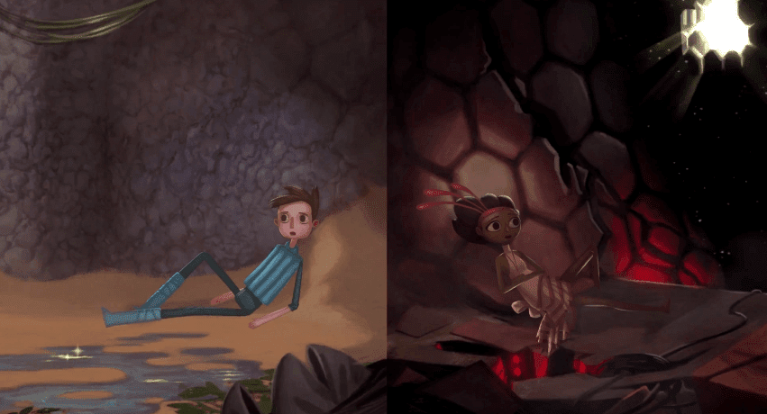 Vella and shay sitting trapped broken age act 2