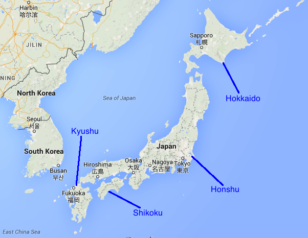 What Are The Four Main Islands Of Japan Map