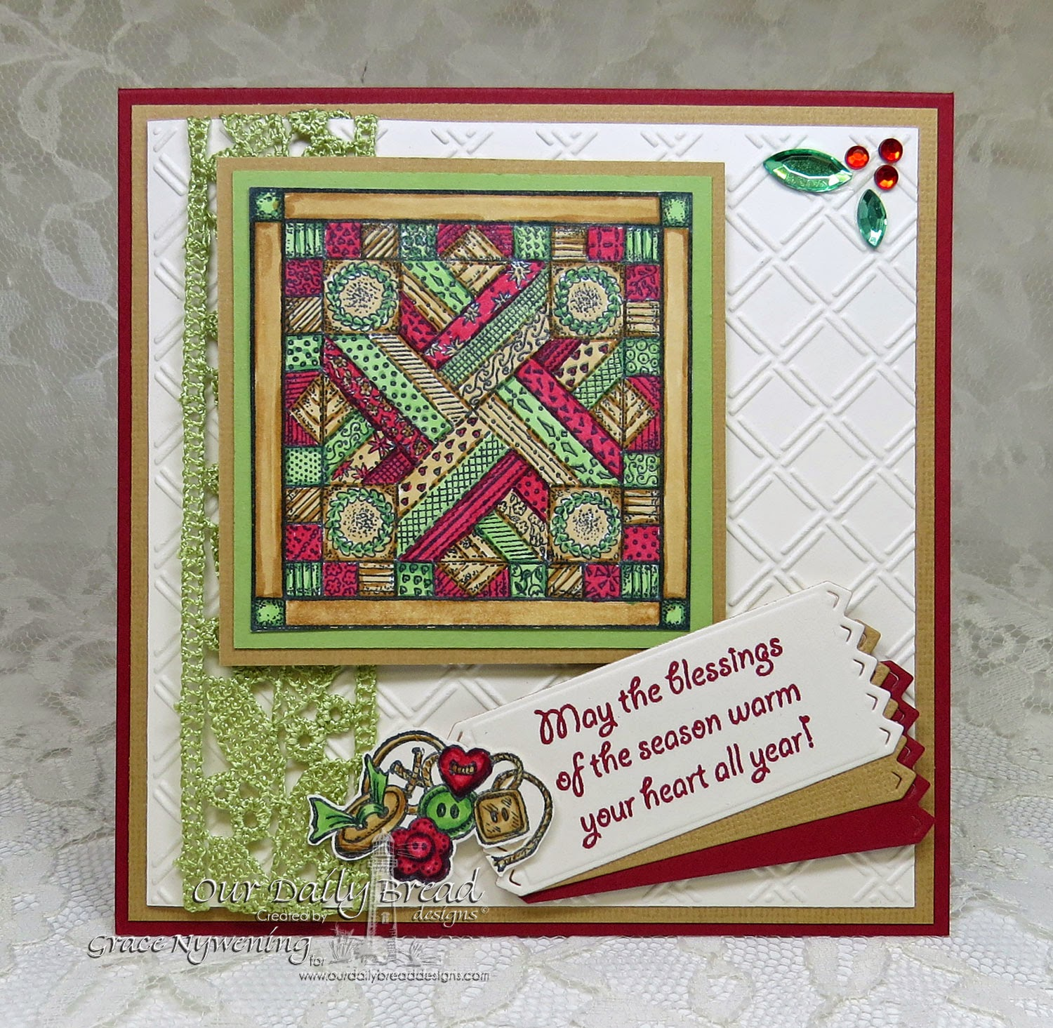 ODBD Stamps, Quilts, Warm Wishes, designed by Grace Nywening