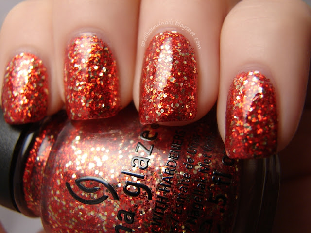 nails nailart nail art polish mani manicure Spellbound China Glaze Holiday Joy Pure Joy color swatch glitter red gold christmas