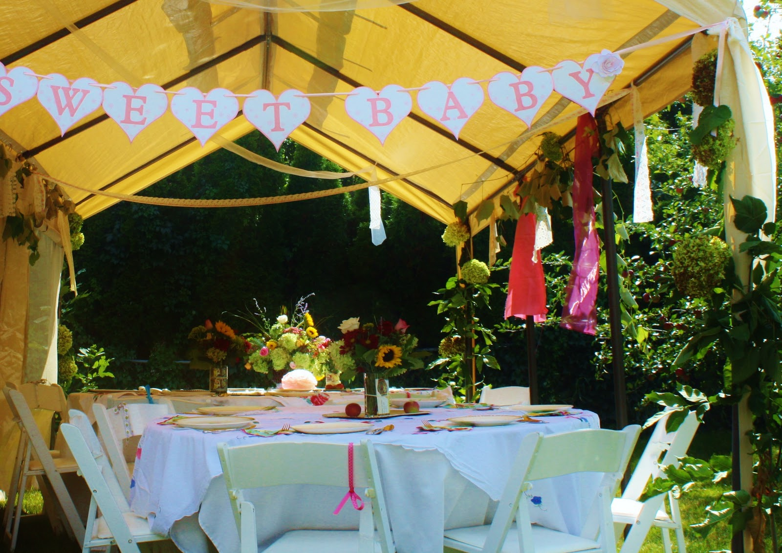 We had the party in my backyard in a tent a friend loaned me. It was about the size of a carport and fit 3 5u0027 round tables perfectly. & Art as Usual: A Vintage Book Baby Shower