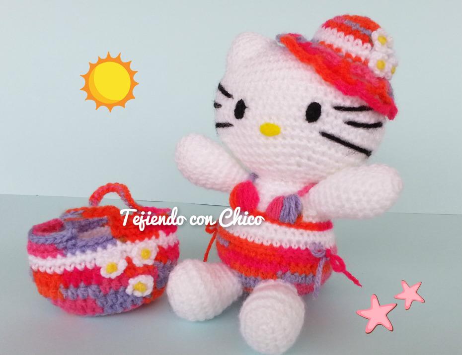 Tejiendo con Chico: Bolsa de playa para Hello Kitty 18