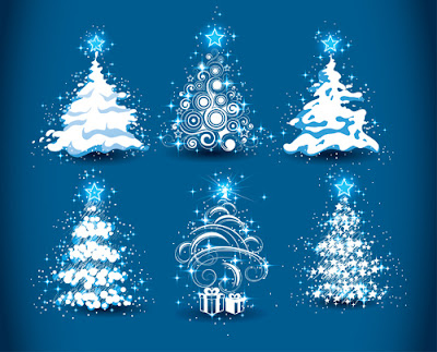 set of christmas trees design elements vector
