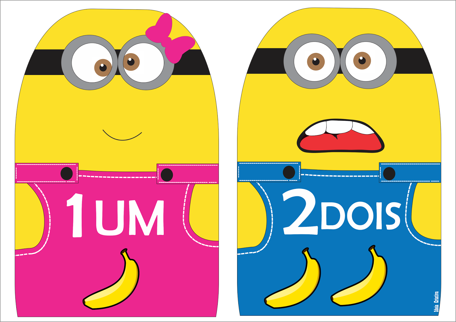 Super NUMERAIS DE PAREDE: Numerais Minions para imprimir Grátis WM03