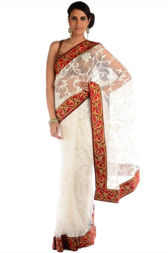 indian White Net Saree