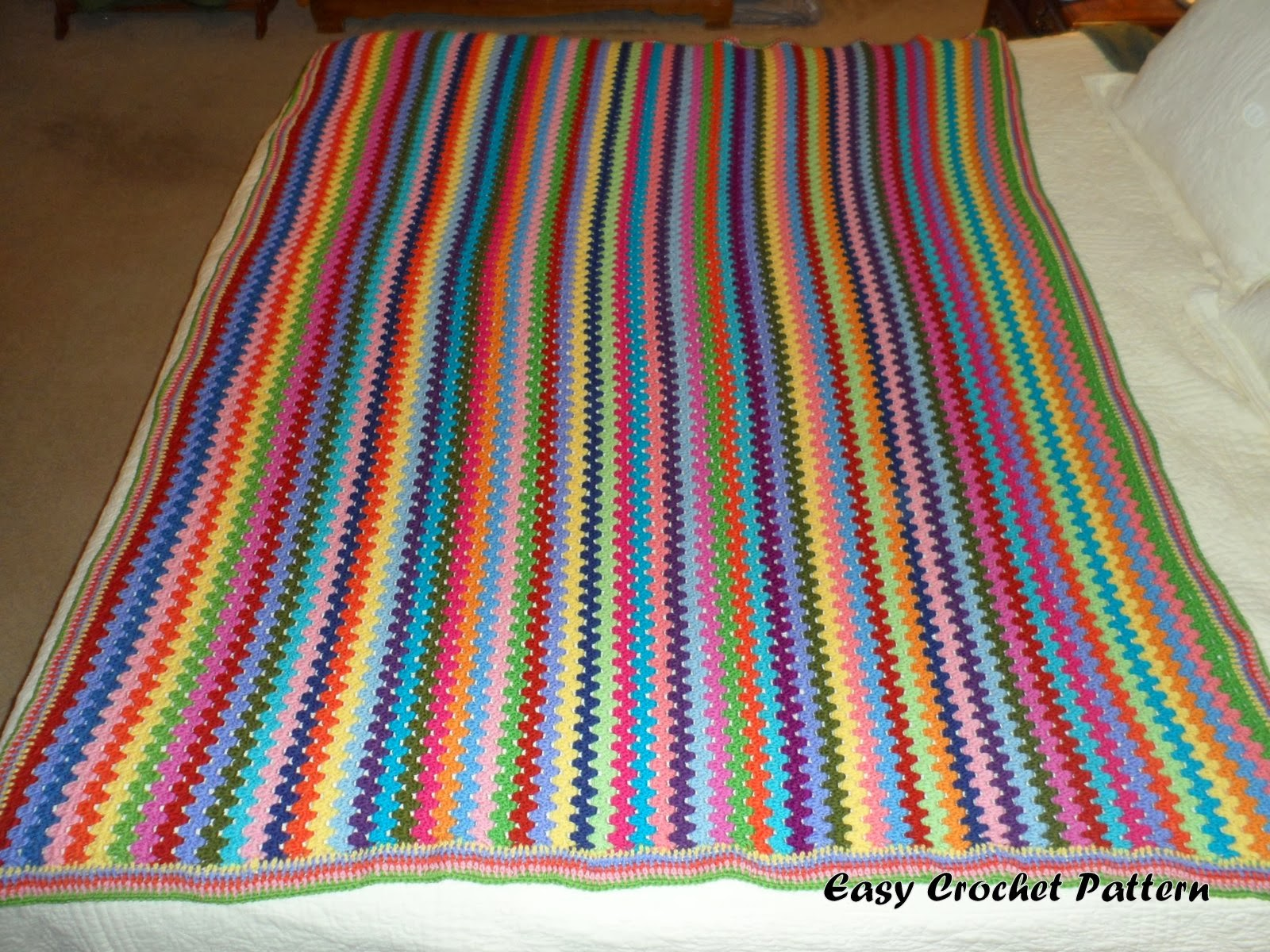 Temperature Afghan Knitting Pattern : Easy Crochet Pattern: Granny Stripe Afghan Chart