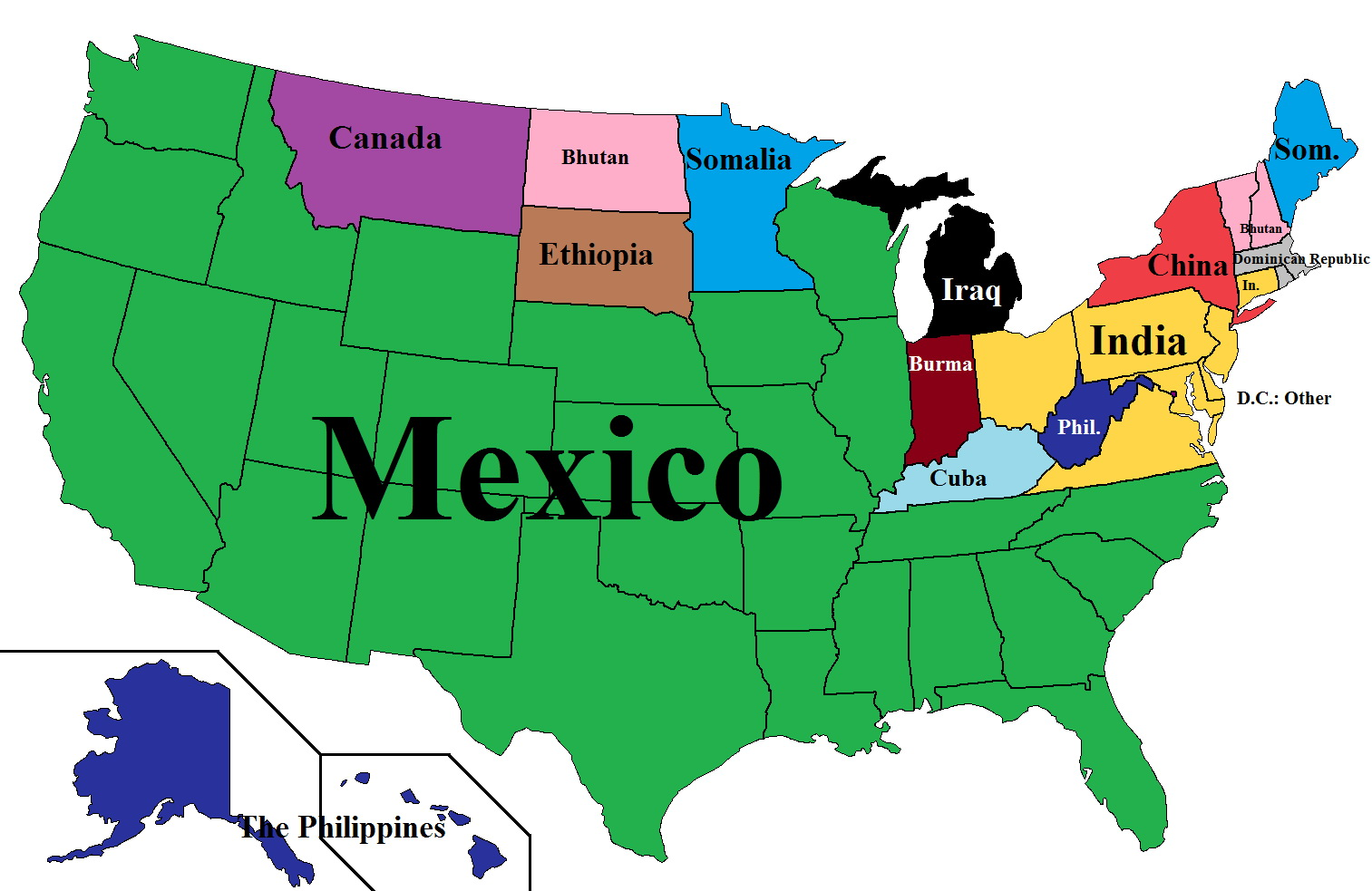 Most common nation of origin (including Mexico) of legal permanent residents in the U.S.