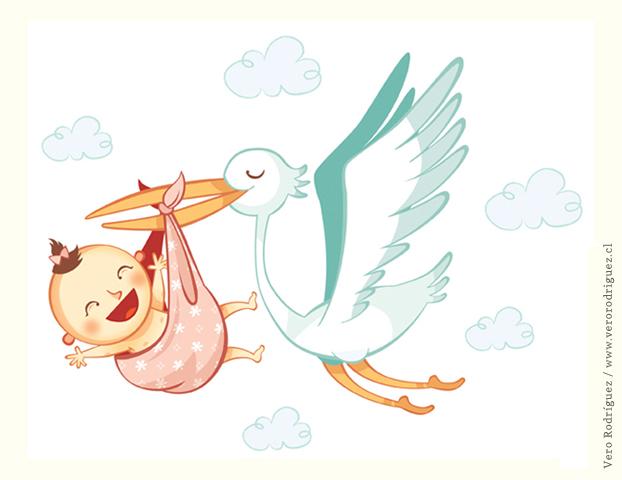 Bebé de cigueña en caricatura - Imagui