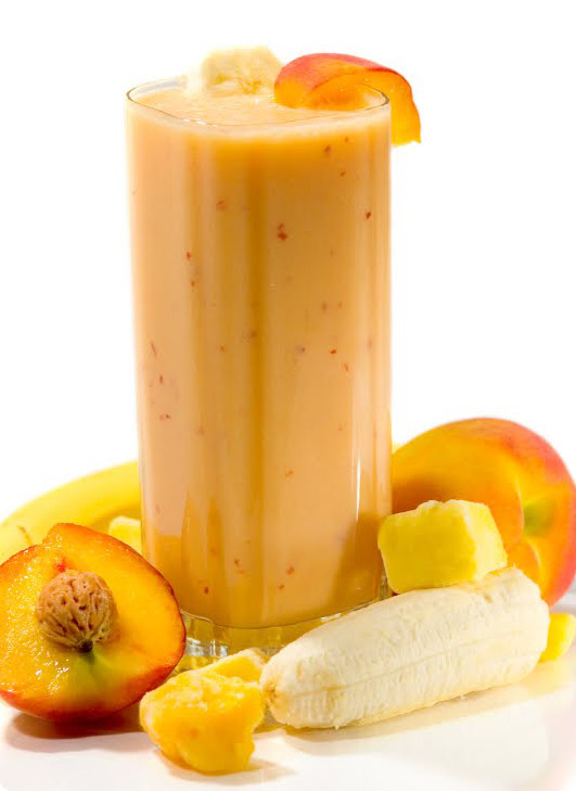 ... small ripe peaches peeled sliced and seeded 1 2 banana 1 2 cup milk