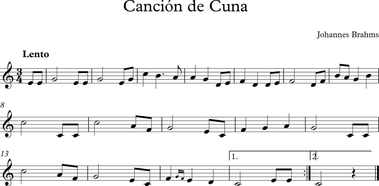 Descubriendo la m sica partituras para flauta dulce o de for Cancion de cuna de brahms