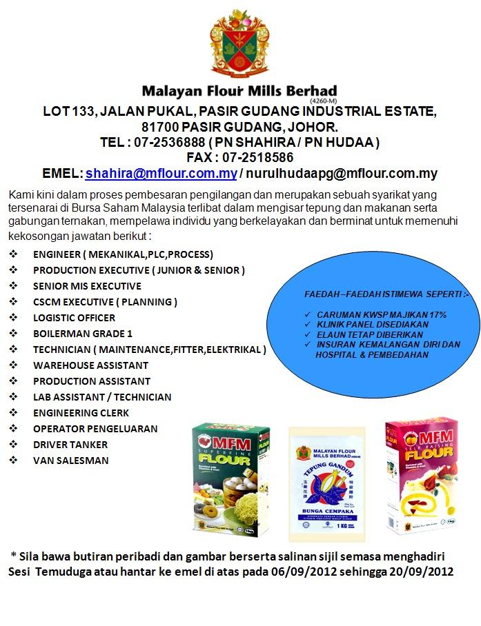 Kekosongan Jawatan Di Malayan Flour Mills Berhad Mobile