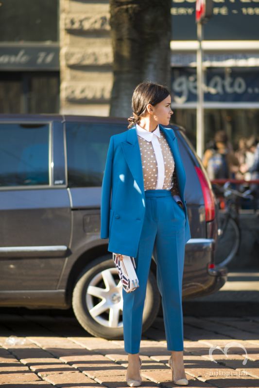 Miroslava Duma leaves Jil Sander show during Milan Fashion Week 2014 Fall WInter MFW