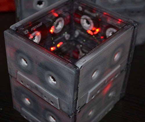 battery operated led lights in cassette centerpiece