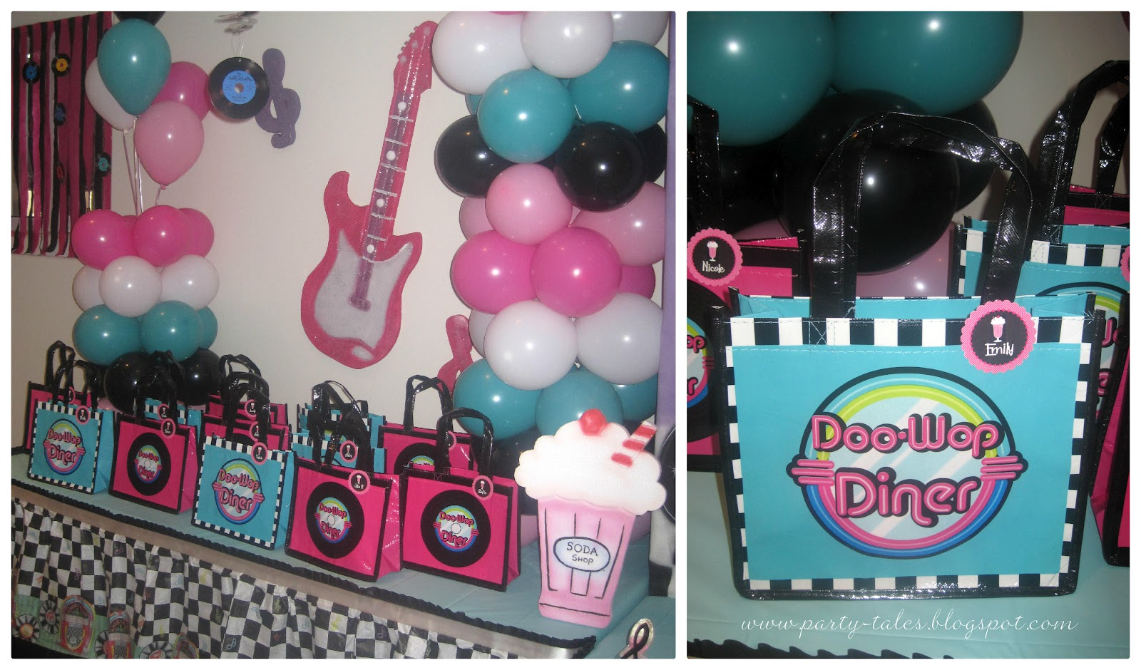 Party tales birthday party 50 39 s diner sock hop part 2 for R b party decorations