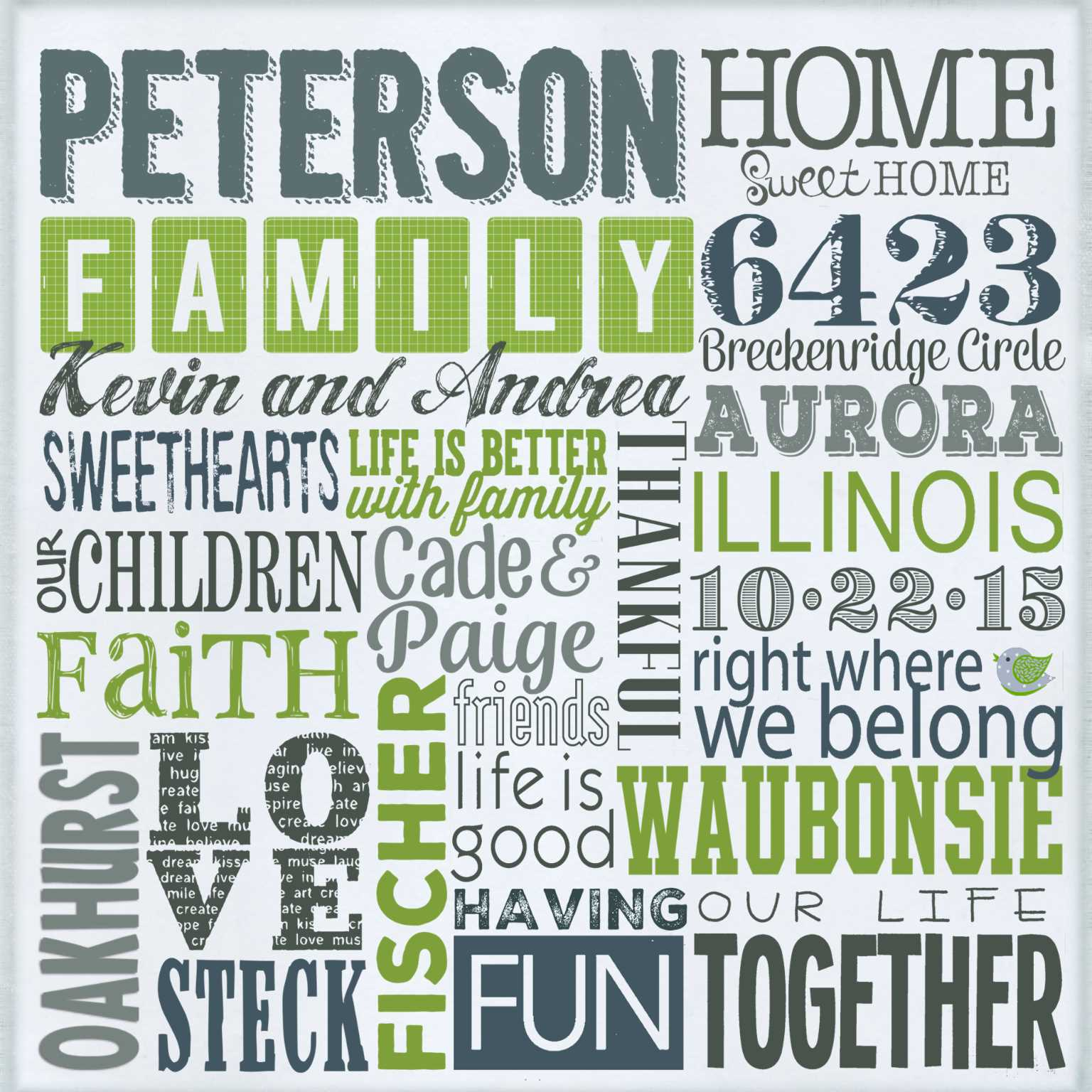 latest samples of personalized word art