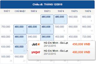 Vé máy bay TPHCM đi Đà Lạt tháng 12