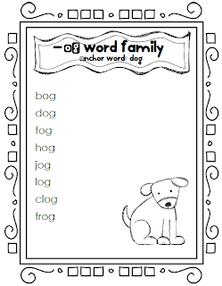 word family lists, word family worksheets