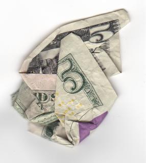Image result for image of wrinkled 5 dollars bill