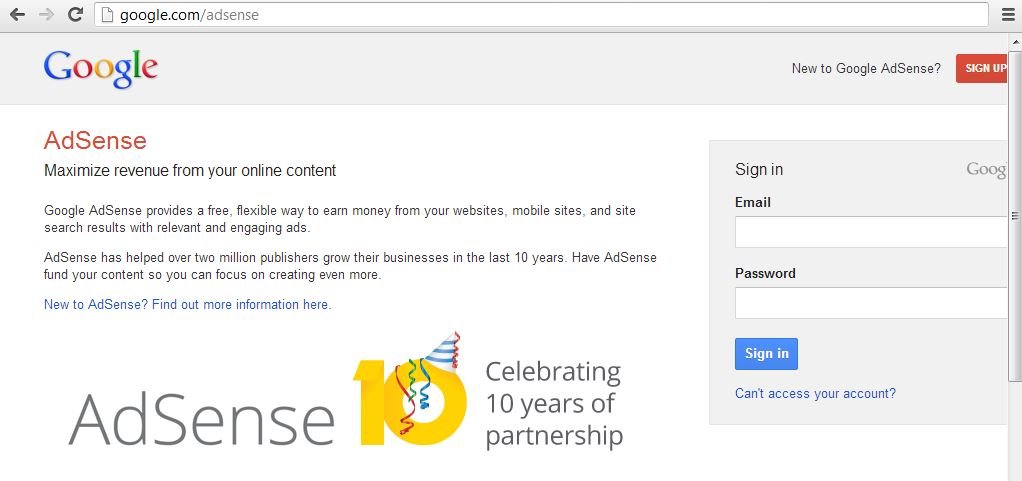 Login to your Adsense account with your Gmail email id and password