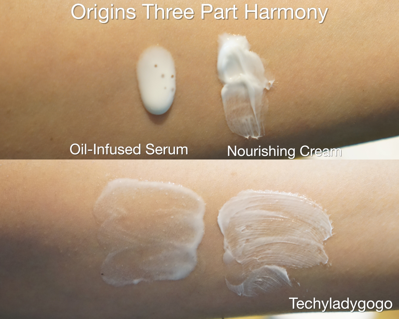 ORIGINS Three Part Harmony Texture of cream and serum