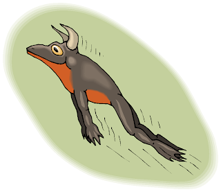 Jumping Frog with Horn Free Clipart