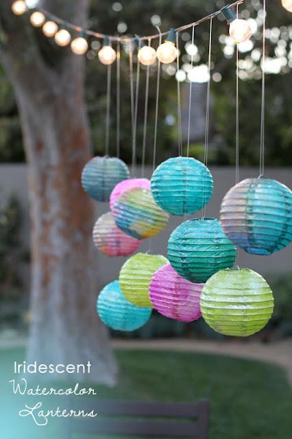 Four flights of fancy iridescent watercolor lanterns - Paper lantern paint color ...