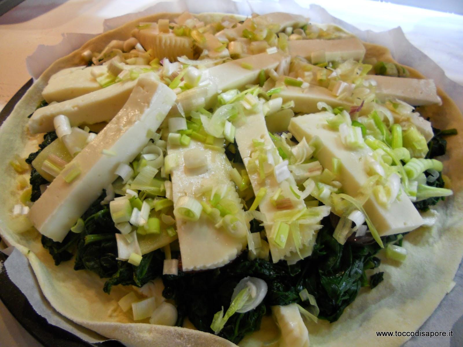 Condimenti della scacciata con spinaci
