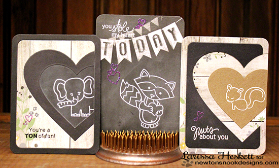 Animal Valentine cards by Larissa Heskett  | Wild about Zoo and Swettheart Tails Stamp set by Newton's Nook Designs