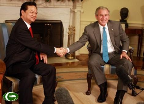 Tổng thống Bush và Thủ tướng Nguyễn Tấn Dũng đã có cuộc hội đàm thành công. Ảnh: Kỳ Thanh