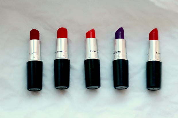 mac, lipstick, collection, beauty, makeup, red, purple, ruby woo, lady danger, morange, heroine, so chaud