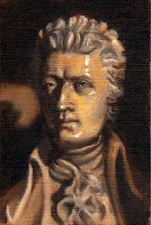 Oil painting of a bisque porcelain bust of W.A. Mozart.