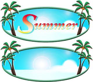 夏イメージのSummerプレート無料イラスト