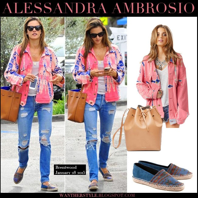 Alessandra Ambrosio in pink tie dye denim jacket, blue distressed jeans with leather bucket bag and blue espadrilles want her style january 28