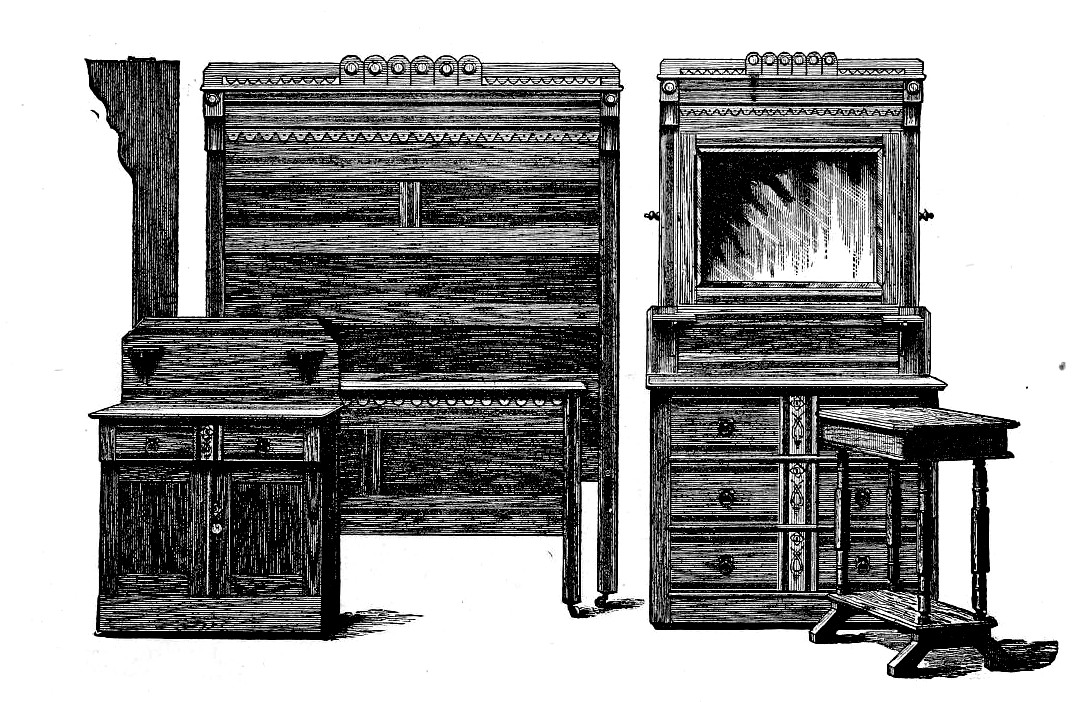 Antique Furniture Set Clip Art Image