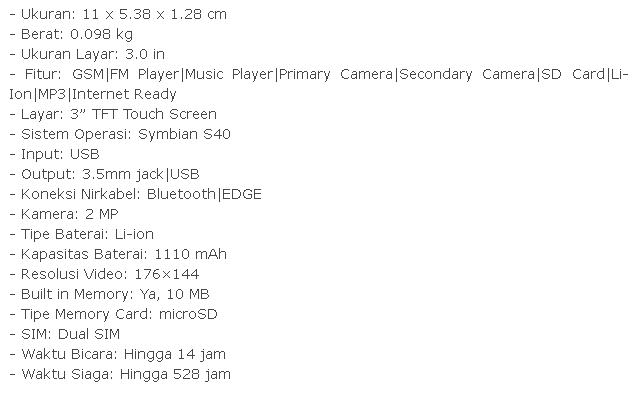 Nokia Asha 305, Harga 700 ribuan Spesifikasin