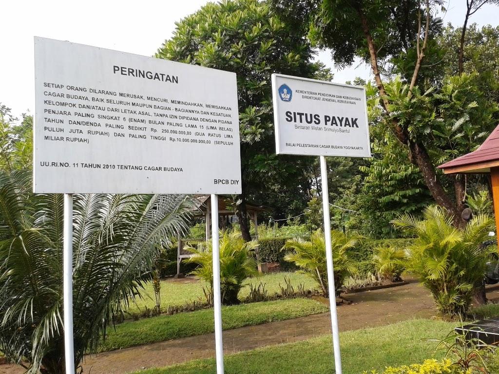 Papan nama Situs Payak, Piyungan