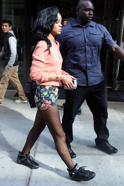 Rihanna Wears Floral Printed Shorts
